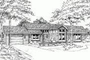 Ranch Style House Plan - 2 Beds 2 Baths 1079 Sq/Ft Plan #320-318 Exterior - Front Elevation