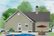 Ranch Style House Plan - 2 Beds 2 Baths 1109 Sq/Ft Plan #929-234 Exterior - Rear Elevation