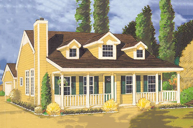 Country Style House Plan - 3 Beds 2 Baths 1409 Sq/Ft Plan #3-114 Exterior - Front Elevation