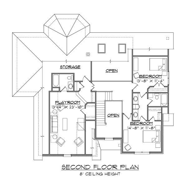 Traditional Floor Plan - Upper Floor Plan #1054-72
