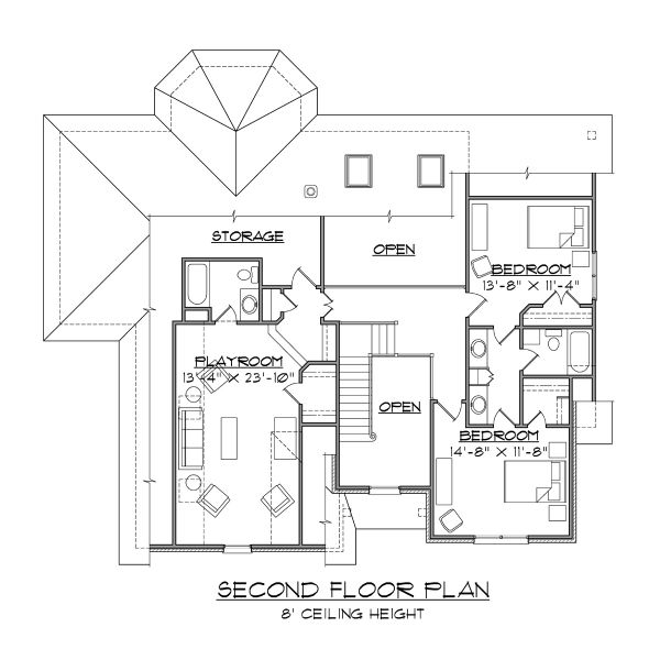Dream House Plan - Traditional Floor Plan - Upper Floor Plan #1054-72