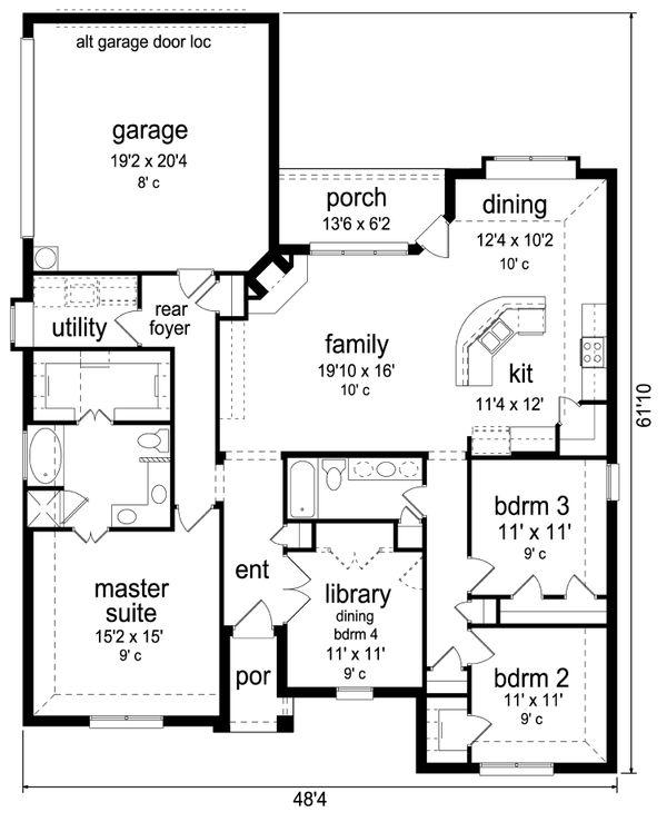 Home Plan - Traditional Floor Plan - Main Floor Plan #84-579