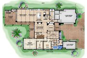 Contemporary Style House Plan - 4 Beds 4.5 Baths 5973 Sq/Ft Plan #27-532 Floor Plan - Main Floor Plan