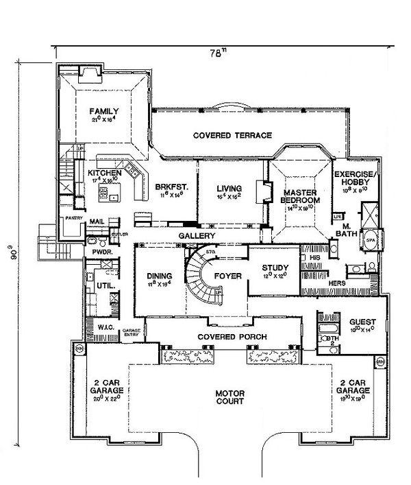 Mediterranean Style House Plan - 4 Beds 4 Baths 4939 Sq/Ft Plan #472-20 Floor Plan - Main Floor Plan