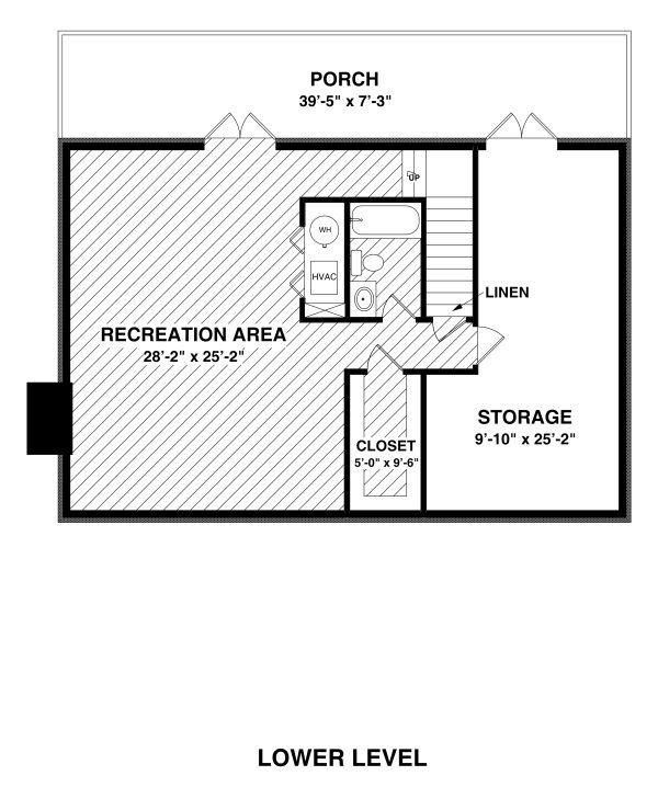 Country Floor Plan - Lower Floor Plan Plan #56-725