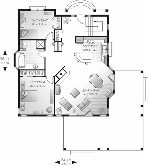 Country Floor Plan - Main Floor Plan Plan #23-703