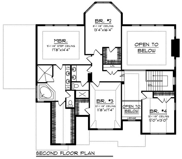Craftsman Floor Plan - Upper Floor Plan Plan #70-1253