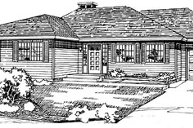 Ranch Style House Plan - 3 Beds 2 Baths 1404 Sq/Ft Plan #47-170 Exterior - Front Elevation