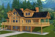 Log Style House Plan - 4 Beds 3.5 Baths 4565 Sq/Ft Plan #117-401 Exterior - Front Elevation
