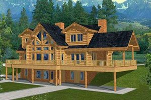 Log Exterior - Front Elevation Plan #117-401