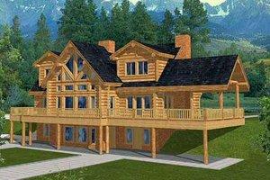 Log Exterior - Front Elevation Plan #117-401
