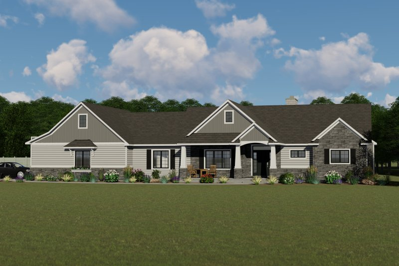 Craftsman Style House Plan - 4 Beds 3 Baths 3799 Sq/Ft Plan #1064-30 Exterior - Front Elevation