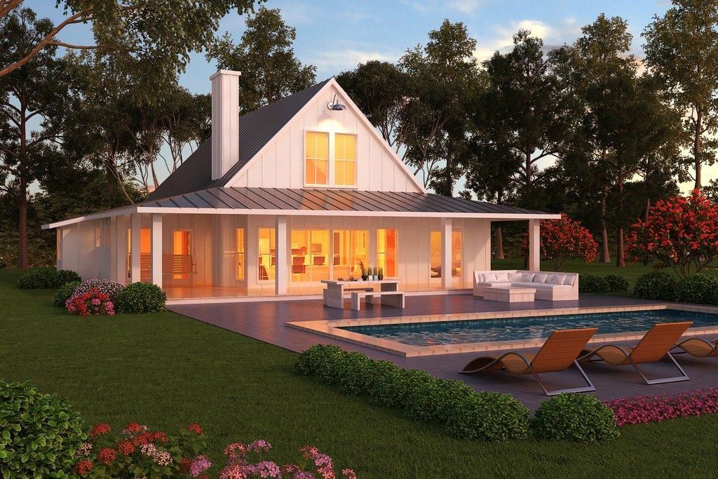 Modern Farmhouse Style Plan Design Home Rear Elevation