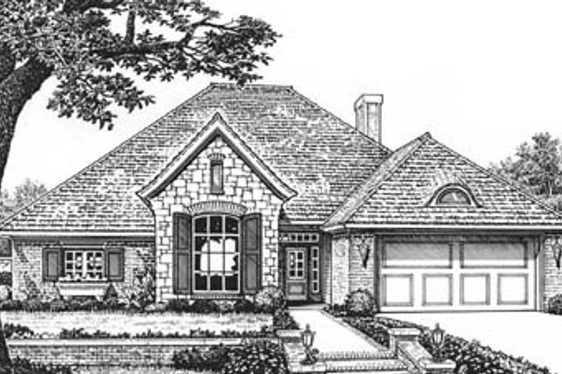 European Style House Plan - 4 Beds 2.5 Baths 2230 Sq/Ft Plan #310-596 Exterior - Front Elevation