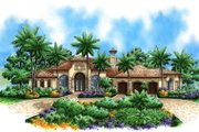 Mediterranean Style House Plan - 3 Beds 3.5 Baths 3859 Sq/Ft Plan #27-414 Exterior - Front Elevation