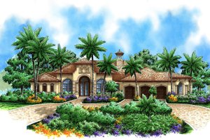 Mediterranean Exterior - Front Elevation Plan #27-414