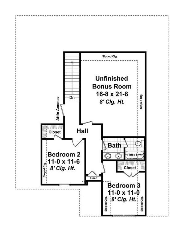 Craftsman Floor Plan - Upper Floor Plan Plan #21-254