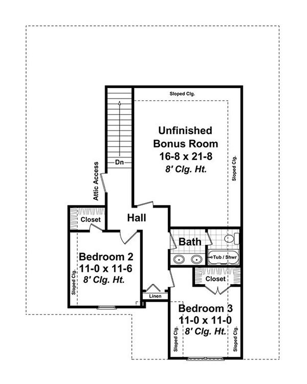 Craftsman Floor Plan - Upper Floor Plan #21-254