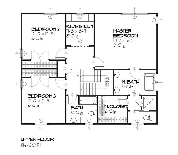 Traditional Floor Plan - Upper Floor Plan Plan #901-24