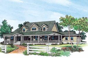 Country Exterior - Front Elevation Plan #72-183