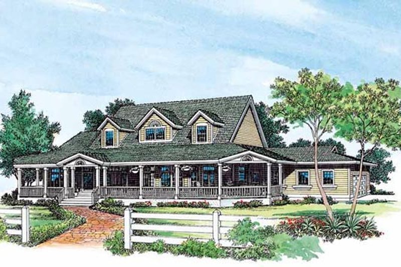 House Blueprint - Country Exterior - Front Elevation Plan #72-183