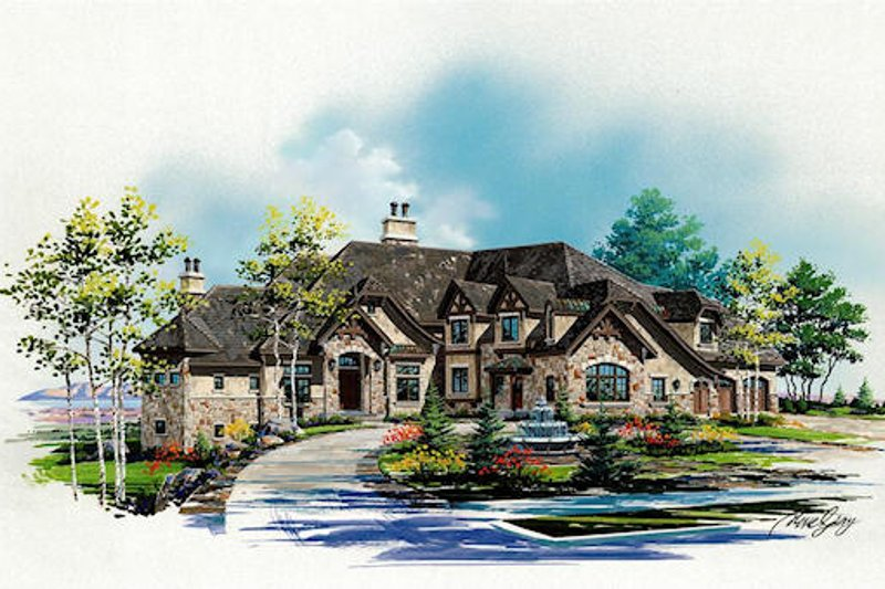 European Style House Plan - 6 Beds 7.5 Baths 7102 Sq/Ft Plan #5-454 Exterior - Front Elevation
