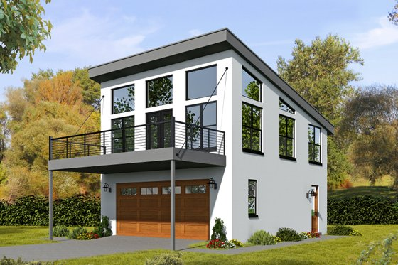 Modern Exterior - Front Elevation Plan #932-38