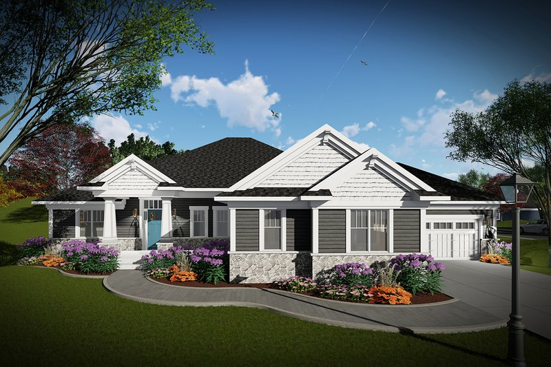 Ranch Exterior - Front Elevation Plan #70-1462