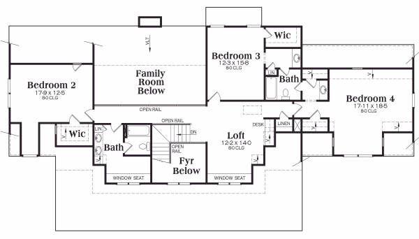 Craftsman Floor Plan - Upper Floor Plan Plan #419-143
