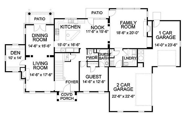 Traditional Floor Plan - Main Floor Plan Plan #490-15