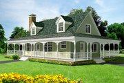 Country Style House Plan - 3 Beds 2 Baths 1700 Sq/Ft Plan #1-124 Exterior - Front Elevation