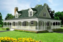 House Plan Design - Country Exterior - Front Elevation Plan #1-124