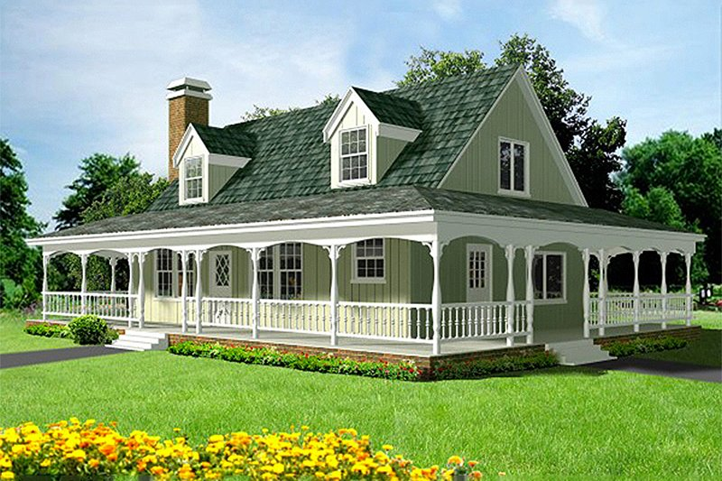 Country Style House Plan - 3 Beds 2 Baths 1700 Sq/Ft Plan #1-124