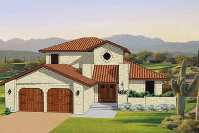 Adobe / Southwestern Style House Plan - 3 Beds 2.5 Baths 1879 Sq/Ft Plan #116-295