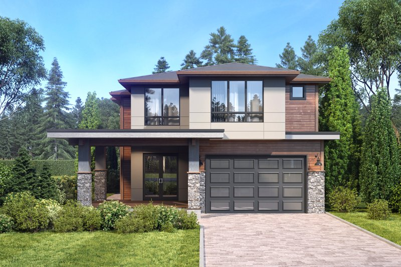Contemporary Style House Plan - 4 Beds 3.5 Baths 3150 Sq/Ft Plan #1066-50 Exterior - Front Elevation