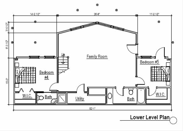 Log Floor Plan - Lower Floor Plan Plan #451-2