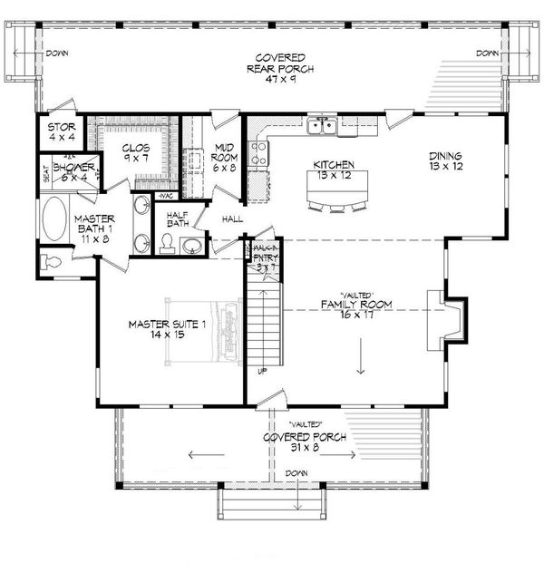 Country Floor Plan - Main Floor Plan Plan #932-3