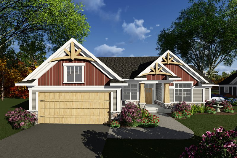 Craftsman Style House Plan - 2 Beds 2.5 Baths 1875 Sq/Ft Plan #70-1269 Exterior - Front Elevation