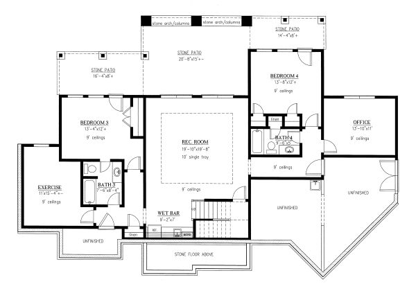 Craftsman Floor Plan - Lower Floor Plan Plan #437-104