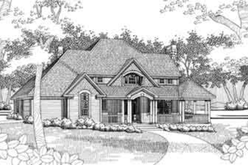 Traditional Style House Plan - 3 Beds 3 Baths 2133 Sq/Ft Plan #120-132 Exterior - Front Elevation