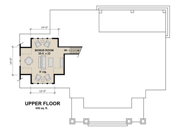 Craftsman Floor Plan - Upper Floor Plan Plan #51-586