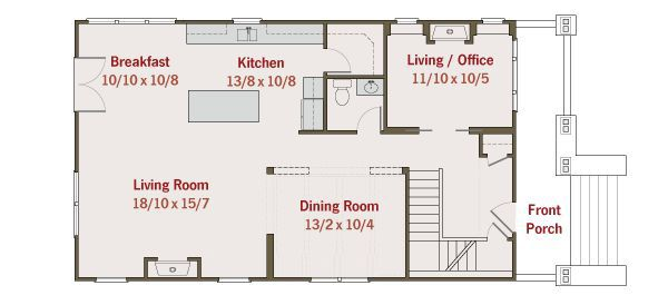Craftsman Floor Plan - Main Floor Plan Plan #461-35