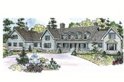 Country Style House Plan - 4 Beds 4.5 Baths 5194 Sq/Ft Plan #124-701 Exterior - Front Elevation