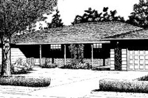 Ranch Exterior - Front Elevation Plan #303-187