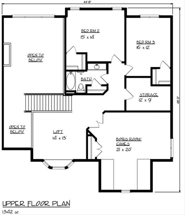 Mediterranean Floor Plan - Upper Floor Plan Plan #320-482