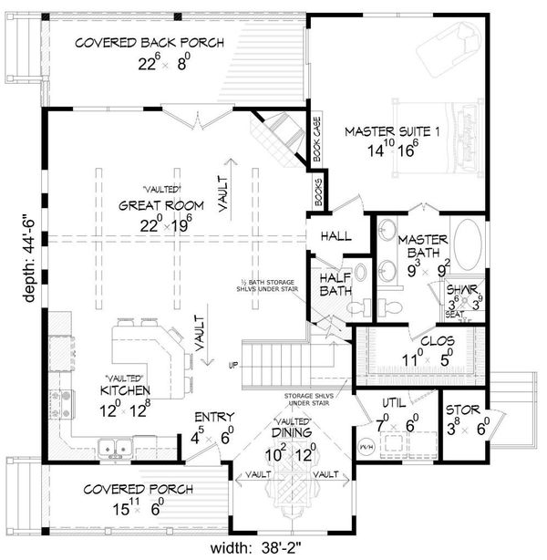 House Plan Design - Country Floor Plan - Main Floor Plan #932-2