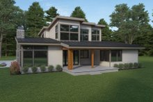 House Plan Design - Contemporary Exterior - Rear Elevation Plan #1070-115