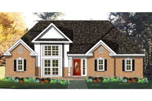 Colonial Exterior - Front Elevation Plan #3-278