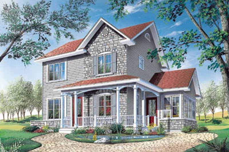 Traditional Style House Plan - 3 Beds 2 Baths 1516 Sq/Ft Plan #23-2104 Exterior - Front Elevation