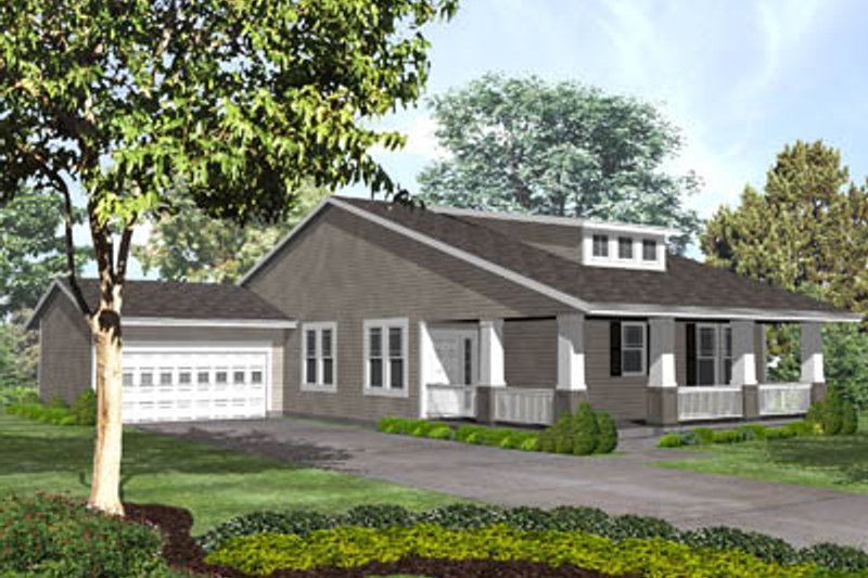 Bungalow Style House Plan - 2 Beds 2.5 Baths 1745 Sq/Ft Plan #50-132 Exterior - Front Elevation
